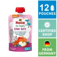 12x Holle Fruit Pouches - Dino Date - Apple with Blueberries & Dates