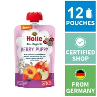 12x Holle Fruit Pouches - Berry Puppy - Apple & Peach with Fruits of the Forest