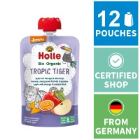 12x Holle Fruit Pouches - Tropic Tiger - Apple with Mango & Passion Fruit