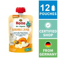 12x Holle Fruit Pouches - Banana Lama - Banana, Apple, Mango & Apricot