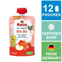 12x Holle Fruit Pouches - Red Bee - Apple with Strawberry